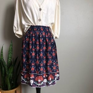 Anthro Adela Indian Flower Skirt